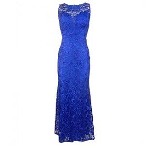 Vestido longo festa em renda korecom - cor azul cobalto