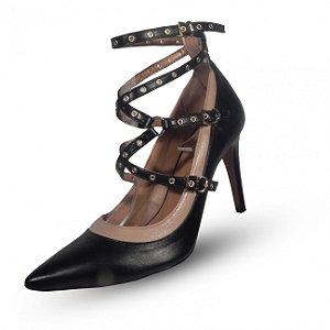 Sapato scarpin feminino em couro tabita cor preto e bege