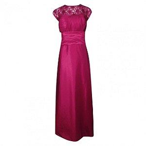 Vestido longo de festa em tafetá com detalhe de transpassado com renda sonia baek vermelho tamanho 46