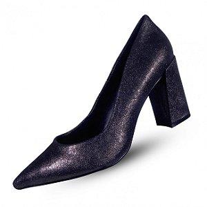 Sapato em couro grafite brilhoso com salto grosso 5º espaço