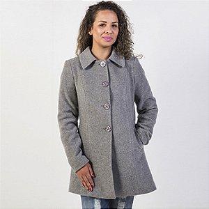 Casaco em lã cashmere acinturado malise cor cinza mescla