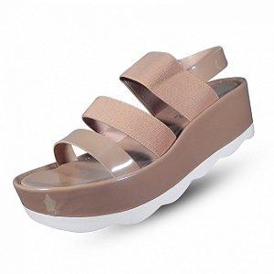 Sandália flatform zatz calçados - cor nude