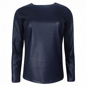 Blusa em couro fake paola marcon cor marinho