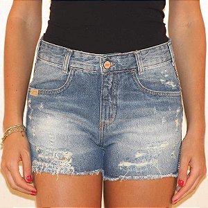Shorts jeans barra desfiada grega lateral lemier