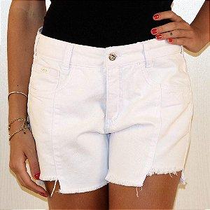 Shorts branco barra desfiada lemier