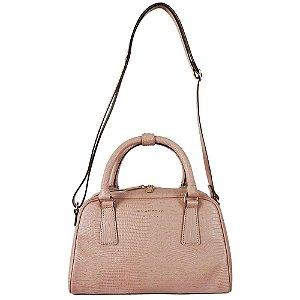 Bolsa couro lezard alça mão e transversal smartbag cor nude