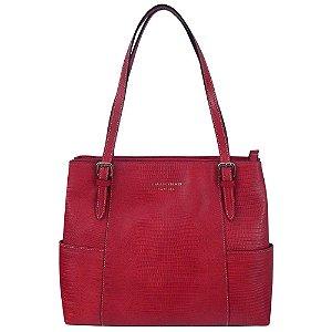Bolsa tiracolo grande em couro lezard smartbag cor vermelho