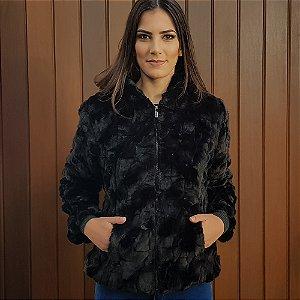 Jaqueta com capuz em pelo alpelo cor preta