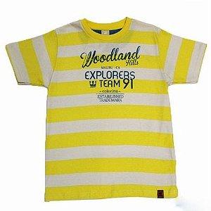 Camiseta Gola Redonda Listrada Estampada Manga Curta Colorittá 17963