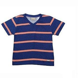 Camiseta Listrada Gola V Milon