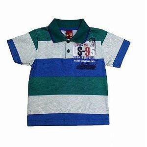 Camiseta Polo Listrada com Estampa Manga Curta Kyly 106240