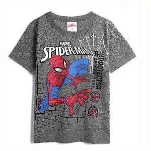Camiseta Spiderman Manga Curta Cinza Brandili 24109