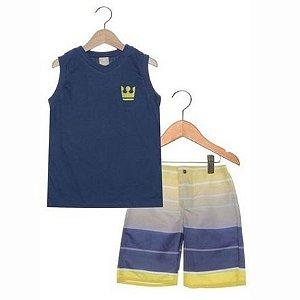 Conjunto 2 peças Listras Bordado Infantil Azul-Marinho/Amarelo/Branco Colorittá 17948