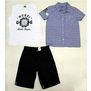 Conjunto 3 peças Camisa + Regata + Bermudas Brandili Mundi