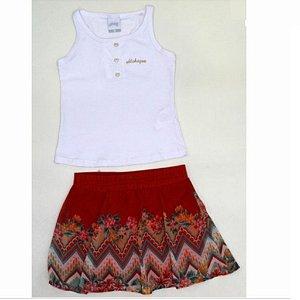 Conjunto com Regata e Shorts/Saia Menina Alakazoo 34442