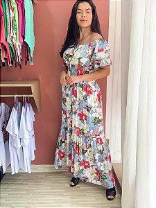 Vestido longo viscolinho manga flare - Dalu store