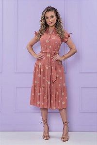 Vestido  Midi  de Viscose  Póa Rose - PURO SHARMY