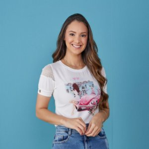 Blusa Georgia estampa pink  -Tata Martello