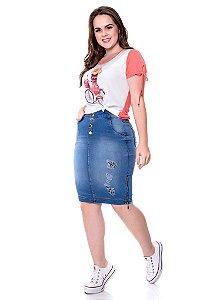 Saia jeans com detalhes em destroyed - Hadaza