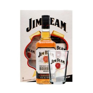 KIT WHISKY JIM BEAM 1L + COPO EXCLUSIVO