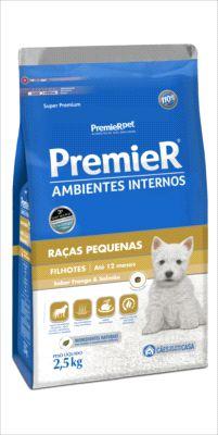 Premier Pet Ambientes Internos Cães Filhotes Frango e Salmão 2,5 Kg