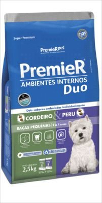 Premier Pet DUO Ambientes Internos Cães Adultos Cordeiro e Peru 12kg