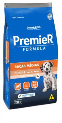 Premier Raças Medias Cães filhotes Sabor Frango 20 Kg