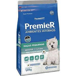 Premier Pet Ambientes Internos Cães Adultos Frango e Salmão 1 Kg