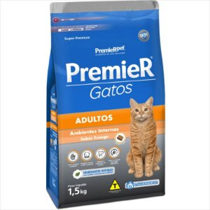 Premier Pet Gatos Ambientes Internos Adultos Frango 1,5 Kg