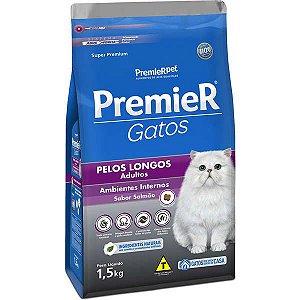 Premier Pet Gatos Ambientes Internos Pelos Longos Adultos Salmão 1,5 Kg