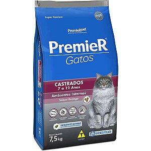 Premier Pet Ambientes Internos Gatos Castrados 7 a 12 anos - Frango 7,5 Kg
