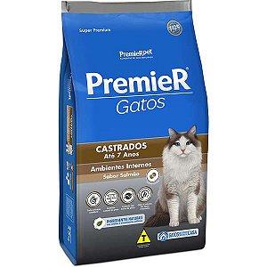 Premier Pet Gatos Castrados até 7 anos Ambientes Internos Salmão 500 g
