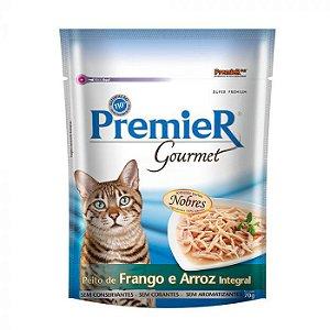 Premier Sachê Gourmet Para Gatos sabor Peito de Frango e Arroz integral 70g