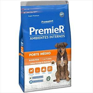 Premier Ambiente Interno para Cães Adultos de Médio Porte Sabor Frango e Salmão 2,5 Kg