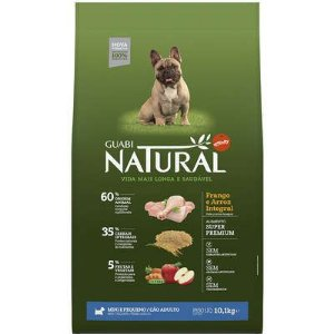 GUABI NATURAL CÃES ADULTO MINI E PEQUENO FRANGO E  ARROZ INTEGRAL 10,1KG