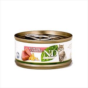 N&D Lata Para Gatos Adultos Sabor Atum e Camarão 70G