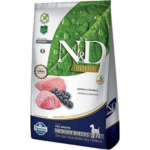N&D Prime Cordeiro e Blueberry Cães Adultos Raças Médias 10,1KG