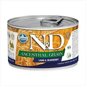 Lata Farmina N&D Ancestral Grain Cordeiro & Blueberry para Cães Adultos 140G