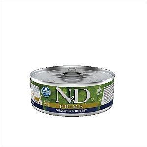 Lata N&D Prime Cordeiro & Blueberry para Gatos Adultos Lata 80g