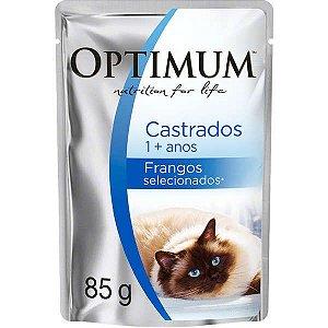 Ração Úmida Optimum Sachê para Gatos Adultos Castrados Frango 85G