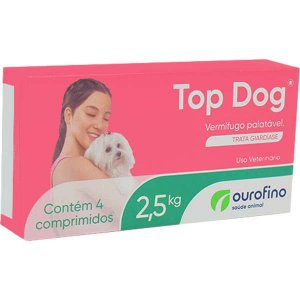 Vermifugo Ourofino Top Dog para Cães de até 2,5KG 4 Comprimidos