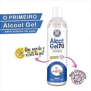 """Álcool Gel"" Para Tutores de Pets - Higienizador Antisséptico Alcat Gel 70 - 500ML"