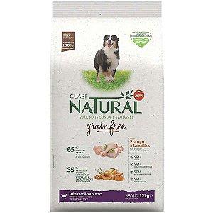 Ração Guabi Natural Grain Free Frango e Lentilha para Cães Adultos Raças Médias 12KG