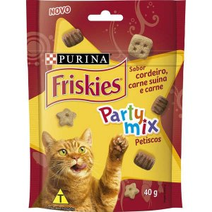 Petisco Friskies Party Mix Cordeiro, Carne Suína e Carne para Gatos Adultos 40G