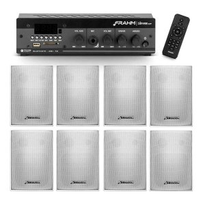 Kit som ambiente receiver Frahm SLIM 1000APP + 8 caixas PS 200