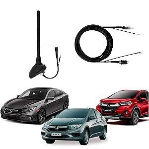 Antena de Teto Honda City Civic Crv Fit Hrv Amplificada Com Cabo Raku