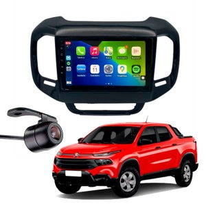 "Central Multimidia Mp8 Black Piano Fiat Toro 9"" CarPlay + Camera De Ré + Chicote"