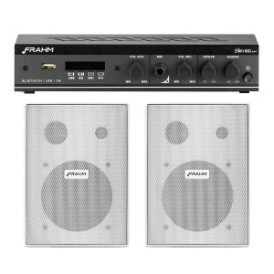 Kit Som Ambiente Receiver Frahm Slim 800APP+ 2 caixas Parede PS 200