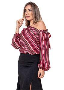 Blusa de Listras Feminina Vermelho