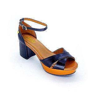 Sandalia Salto Grosso Meia Pata Preto